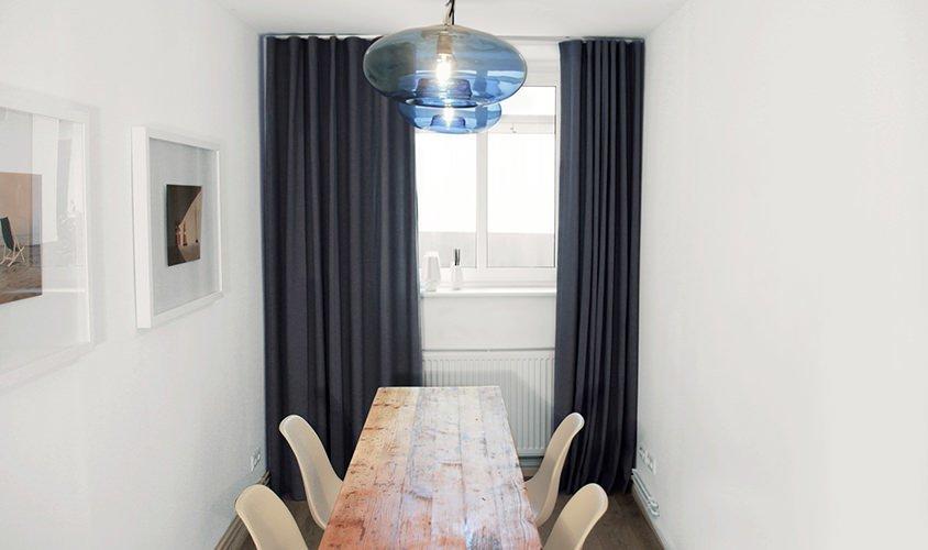 Passgenauer individueller Vorhang aus Stoff Mia von www.thecurtain.shop mit Wellenoptik