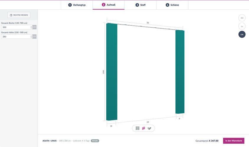 Gestalte Deinen Vorhang mit unserem 3D Planer auf Dein individuelles Maß